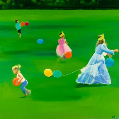 Catching Balloons on Green Field Painting by Paulina Swietliczko