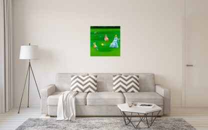 Painting Hanging in Living Room with Couch