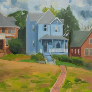 Blue House and a Pink Path
